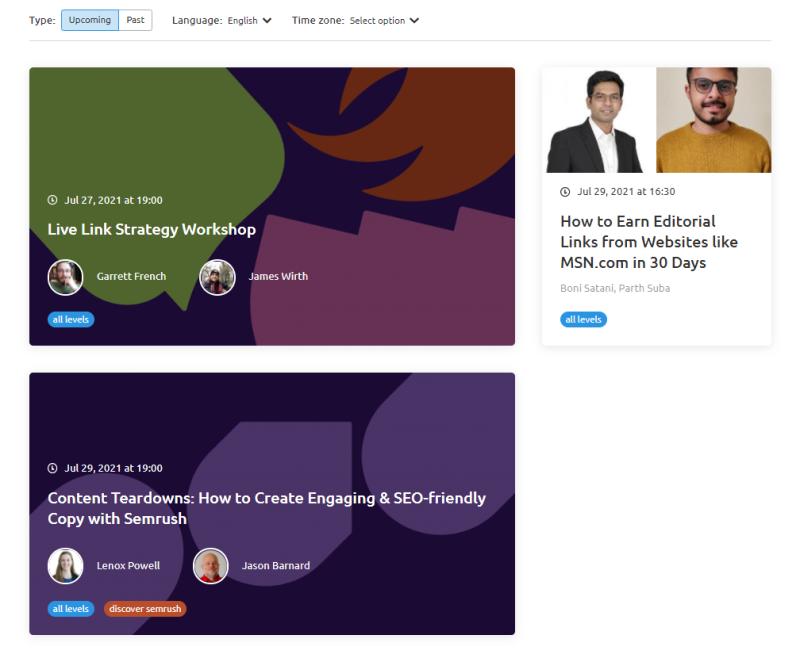 Semrush leren? Via informatieve Webinars bespreken teamleden van Semrush hoe jij als online marketeer je online marketing strategie kunt verbeteren met de software tools van hun bedrijf.