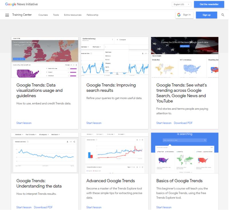 Hoe kun je starten met google trends? Op deze afbeelding zijn de gratis studiematerialen van Google te zien die je leren werken met Google Trends.