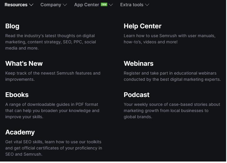 Wat is Semrush en wat kun je ermee? Dat kun je leren op deze pagina, waar allerlei educatieve tools aangeboden worden. Dus als jij Semrush wilt leren gebruiken kan dat via webinars, podcasts, e-books en een academy!