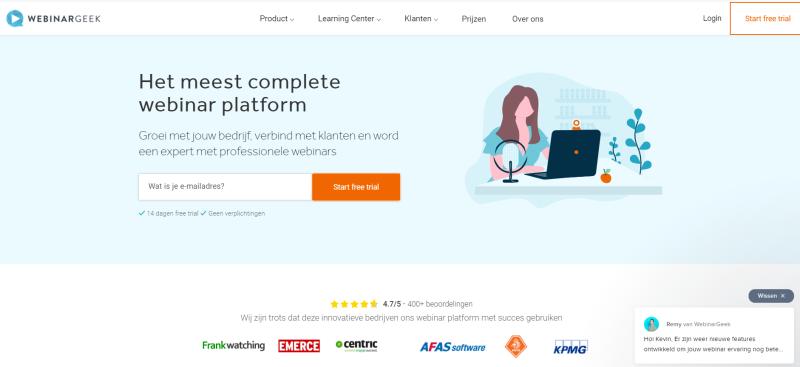 Op deze afbeelding zie je het interface van Webinar Geek. Webinar Geek is een van de beste Webinar software van Nederland.