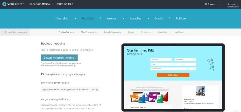 Op deze afbeelding zie je de back-end van WebinarGeek. Hier kun je webinars organiseren om jouw online business locatie onafhankelijk te maken.