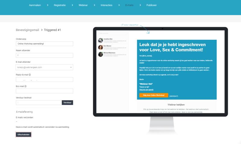 In Webinar Geek zit ook e-mail marketing software waarmee je jouw doelgroep direct e-mails kunt sturen. Zo ziet het design er uit.