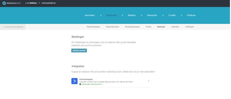 Met Webinar Geek Integraties kun jij jouw E-Mail marketing provider koppelen of betaalde webinars geven. Dit is handig omdat je hiermee alles kunt automatiseren!