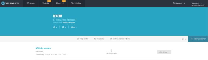 Via Webinar Geek een nieuw webinar opzetten? Klik op Nieuw Webinar en start direct met het organiseren van een Webinar.