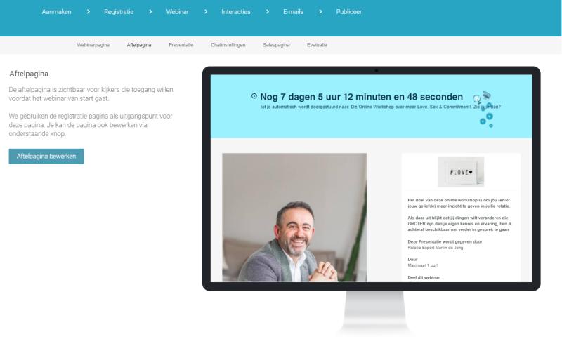 Op de WEbinargeek aftelpagina kun jij een timer zetten die afloopt tot het moment dat jouw webinar begint.