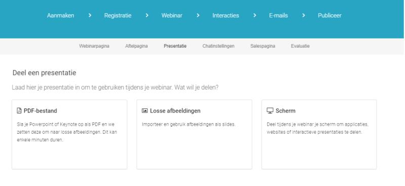 Via Webinargeek een presentatie toevoegen kan via verschillende bronnen. Je kunt bijvoorbeeld een Powerpoint presentatie toevoegen of met losse foto's werken. Ook kun je tijdens de presentatie je scherm delen!