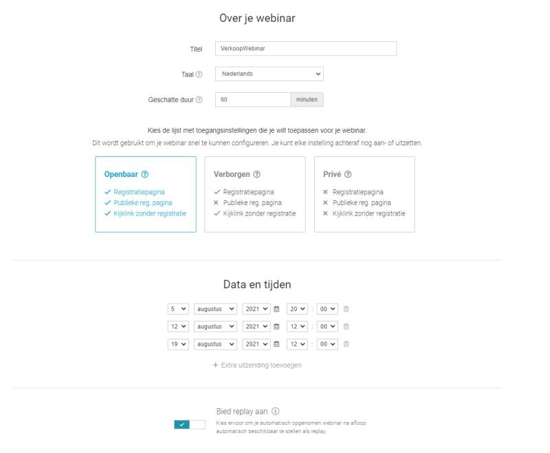 WebinarGeek webinar organiseren? Hou er rekening mee dat je een aantal gegevens in moet vullen die je later altijd nog kunt wijzigen!