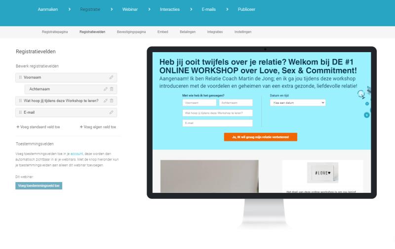 Via WebinarGeek een Webinar Organiseren is erg handig. Je maakt via Drag & Drop mooie landingspagina's en kunt daarnaast ook aan andere systemen koppelen.