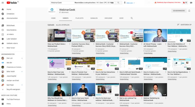 Via het WebinarGeek Youtube Account leer jij meer over het geven van online webinars, bijvoorbeeld om verkopen te doen. De materialen van Webinar Geek zijn de beste op de Nederlandse markt!