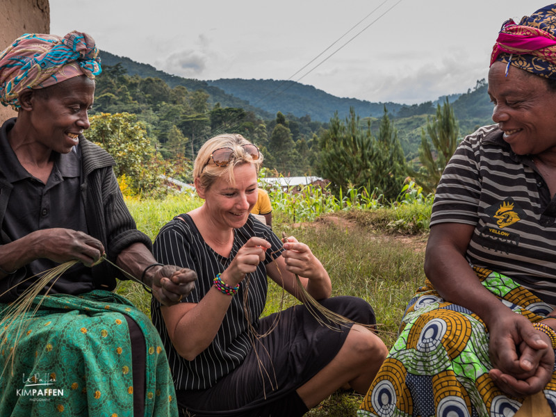 Learning how to weave at the women group in the Rushaga Area near Bwindi Impenetrable Forest National Park