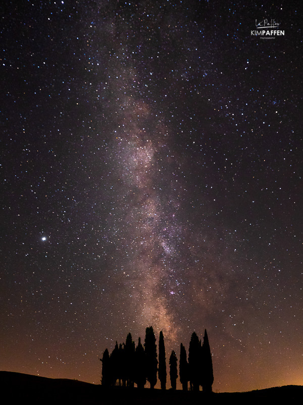 Travel photography idea: Milky Way Photography in Tuscany at Cipressi di San Quirico d'Orcia