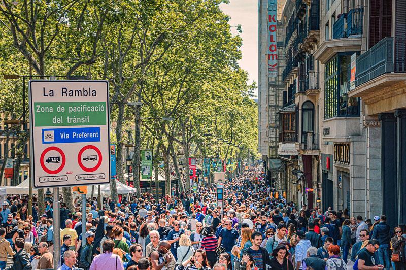 Overcrowded La Rambla in Barcelona