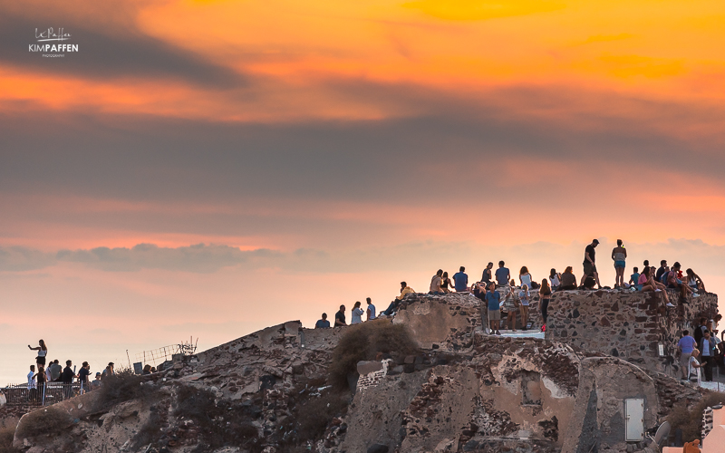 Overcrowded in Santorini because of famous sunset in Oia from Oia Castle