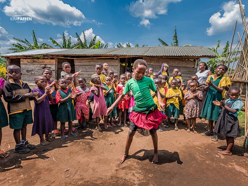 Ugandan kids ending their day at school
