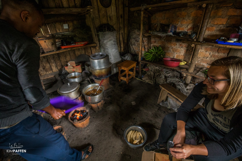 Cooking lesson in the local community of Bwindi Uganda