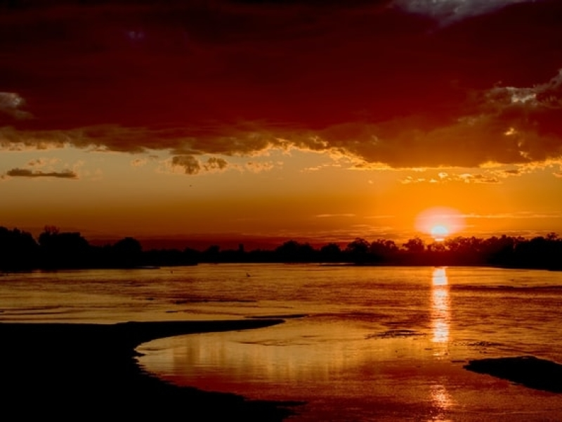 Zambia Photography: Sunset at Zambezi River Zambia