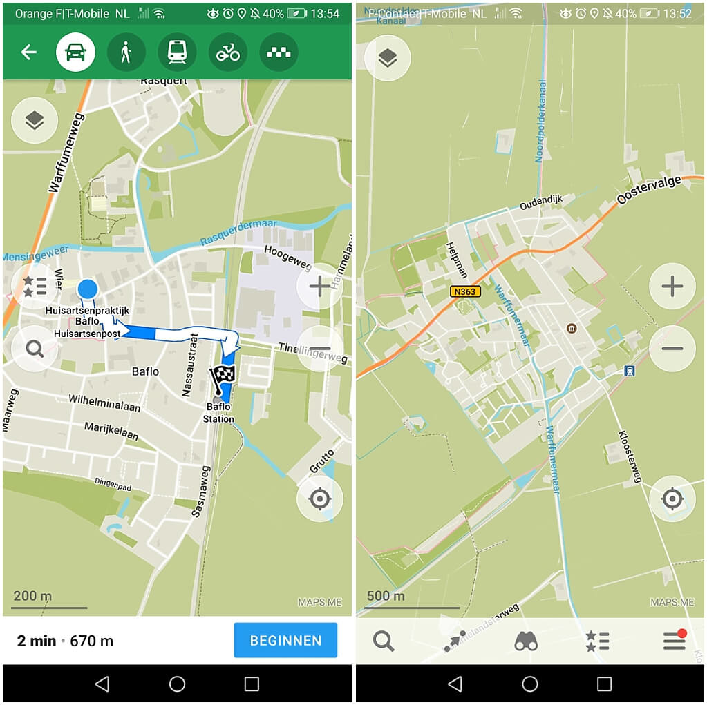 offline-navigatie-wandeling