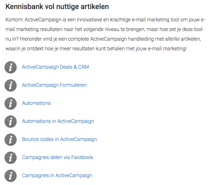 Kennisbank (Content Canon) over ActiveCampaign
