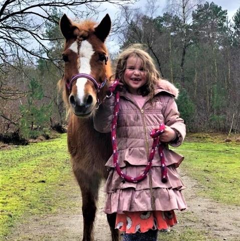 Welsh pony Nina met haar vrouwtje aan de wandel