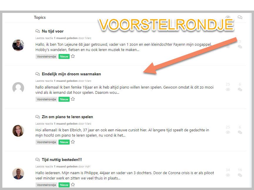 online forum pianoles van Rene