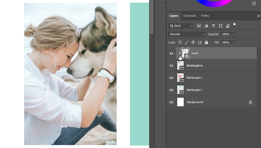 Collage in Photoshop maken - maak een clipping masker / uitknip masker