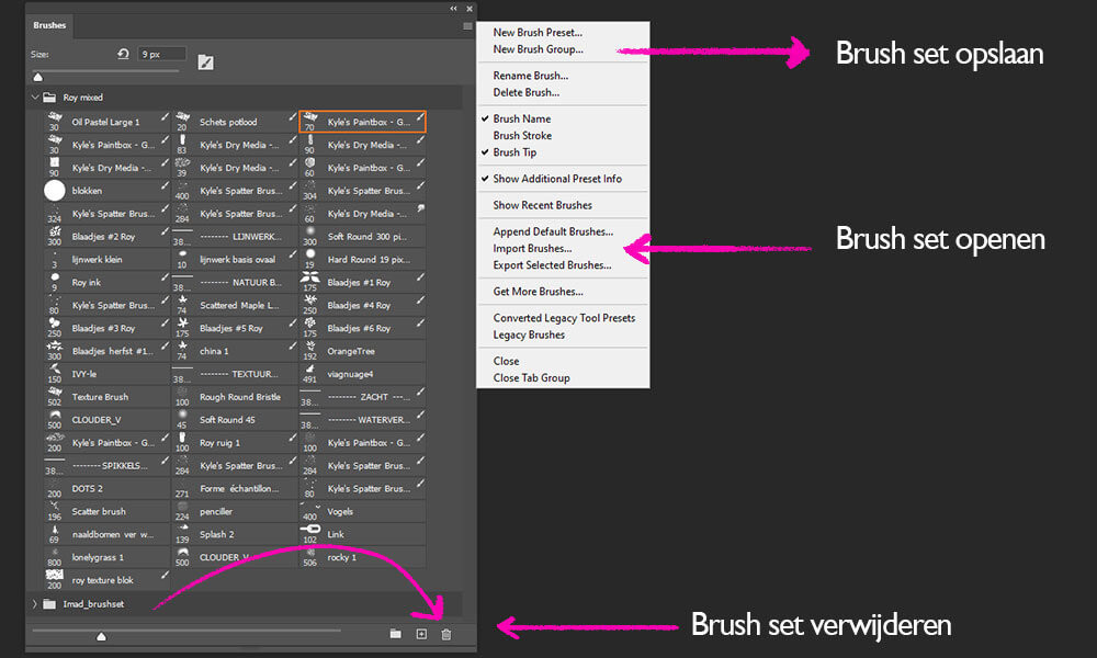 Photoshop tip: ruim je brushes op