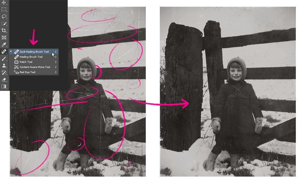 spot healing brush in Photoshop repareert automatisch simpele beschadigingen