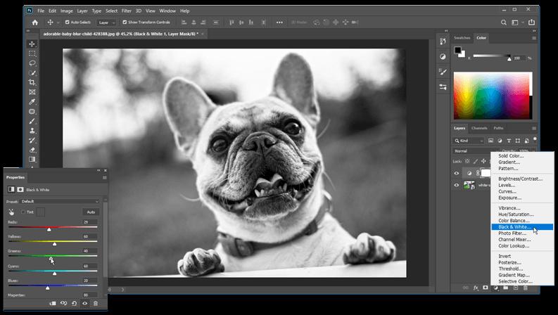 Foto zwart wit maken met een adjustment layer (aanpassingslaag) black and white