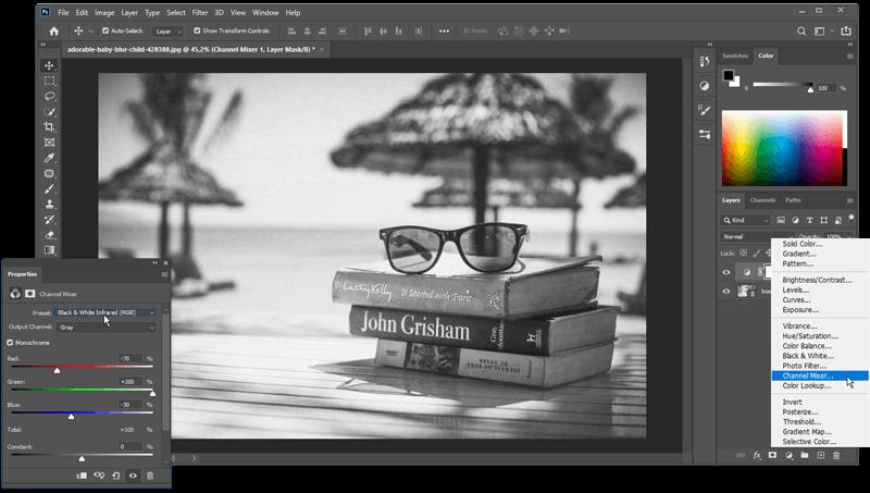Foto zwart wit maken met een adjustment layer (aanpassingslaag) > Channel Mixer