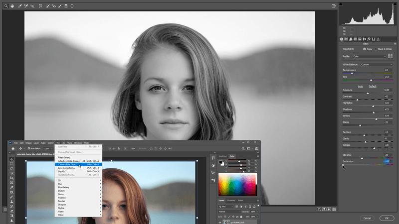 Foto zwart wit maken met de Camera Raw Filter