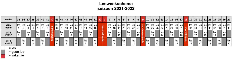 lesweekschema 21-22