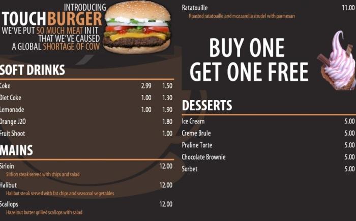 Digitaal menu gekoppeld aan kassasysteem