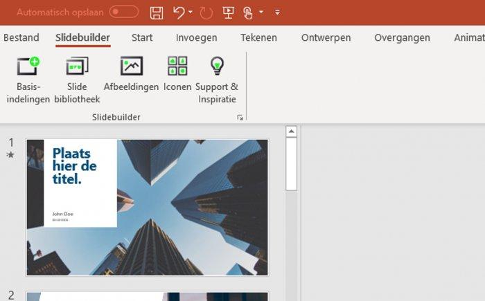 5 nieuwe knoppen in PowerPoint - Slidebuilder