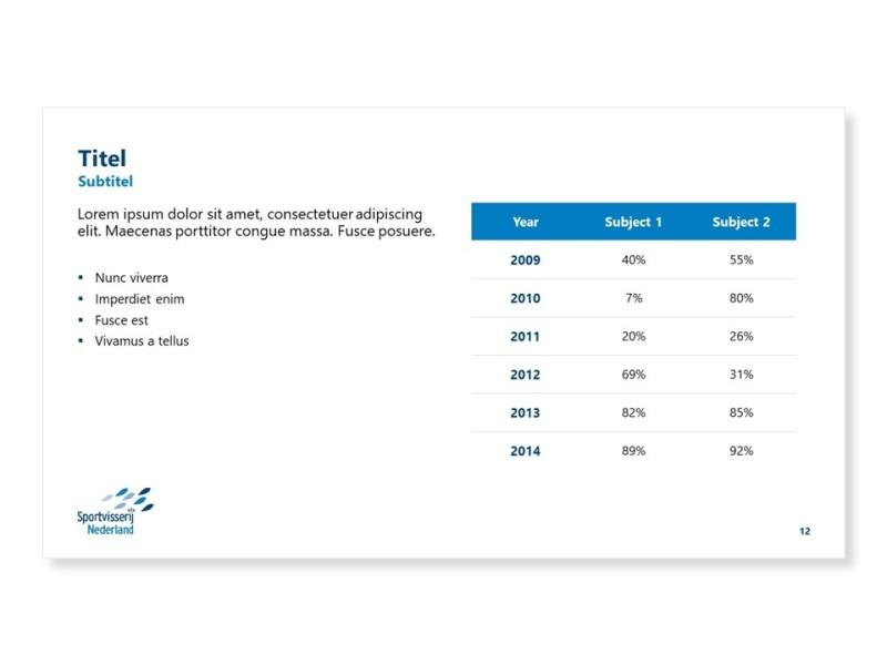 PowerPoint template - Tabelslide