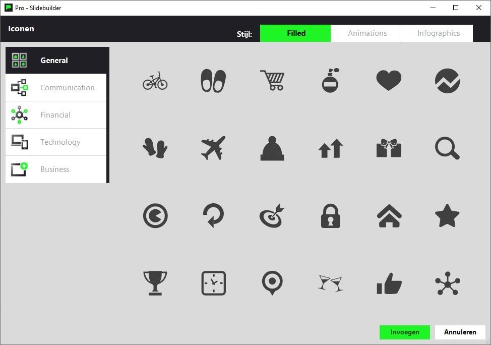 De iconen van Slidebuilder die bij de gratis PowerPoint templates komen.