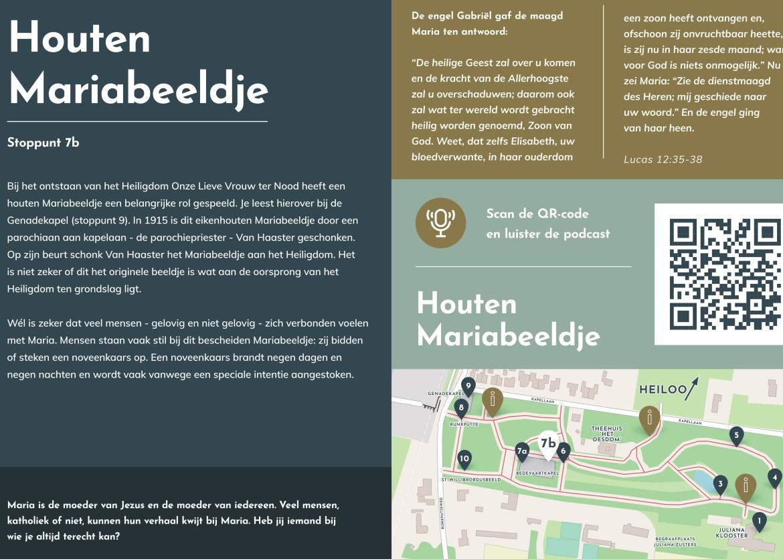Informatiebord en informatiepaneel Pressart met QR-code voor het Houten Mariabeeldje Heiloo