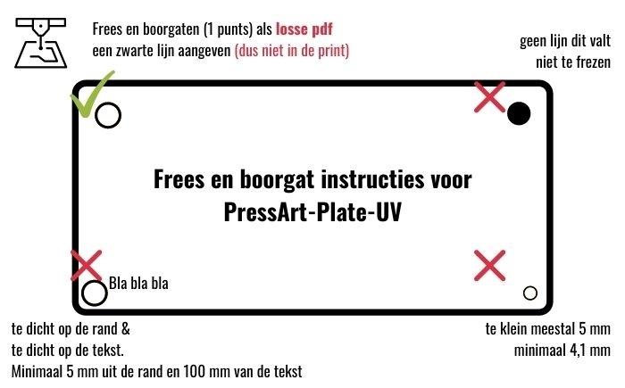 Frees en boorgat instructies voor PressArt-Plate-UV-print-hpl