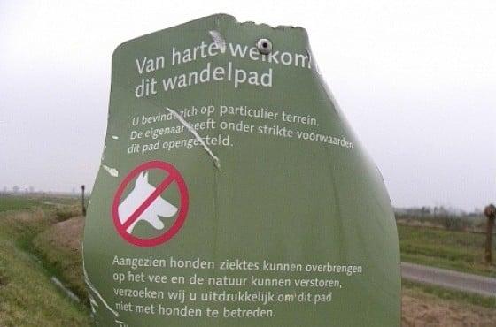 veel vandalisme op openstelling borden en terreinborden