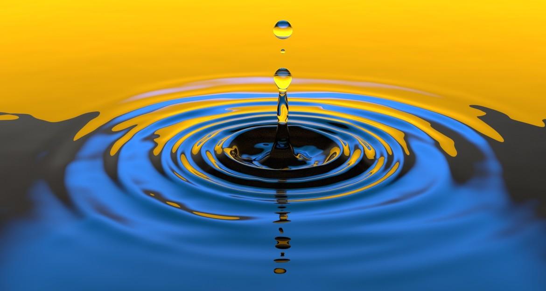 Circle of influence, druppel, water, cirkel, bereik, invloed