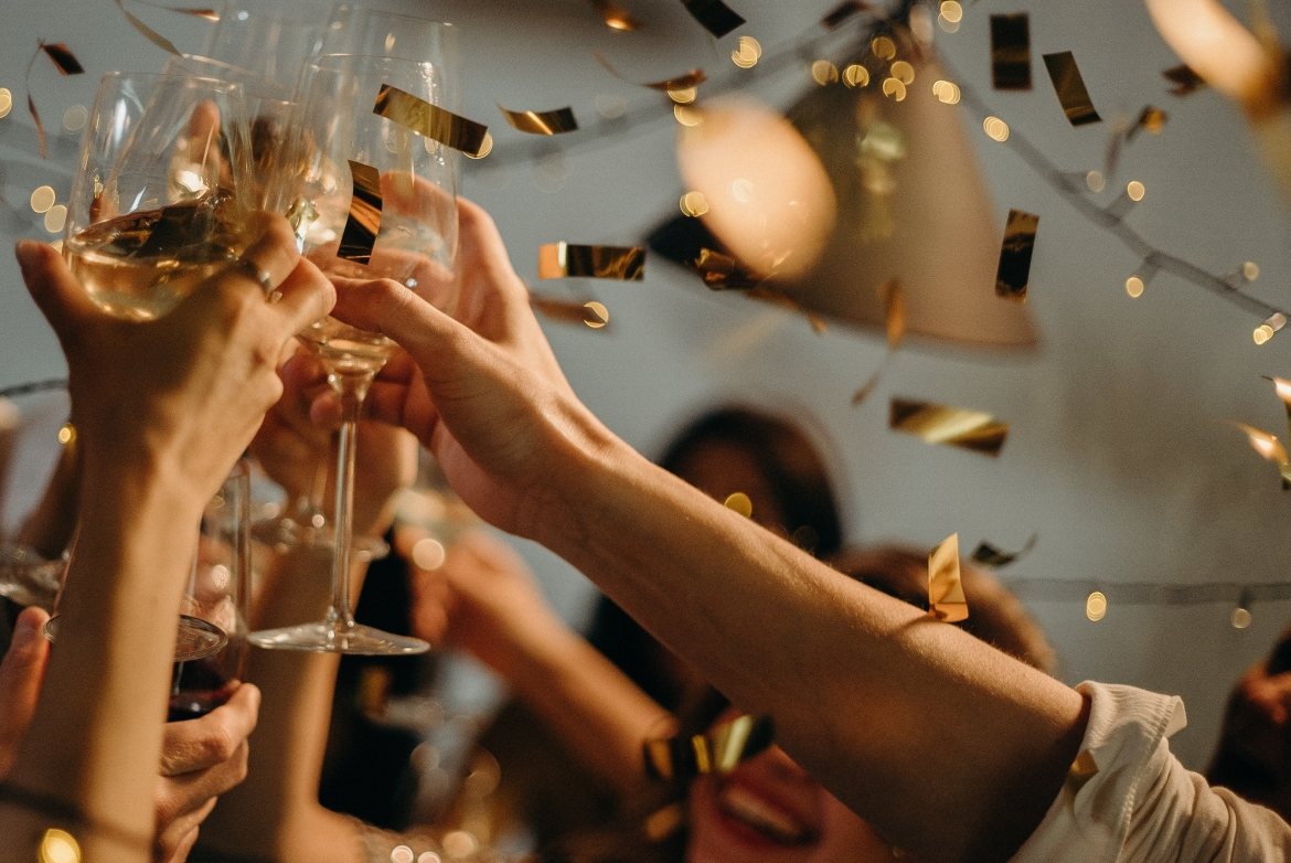 feest, champagne, viering, succes