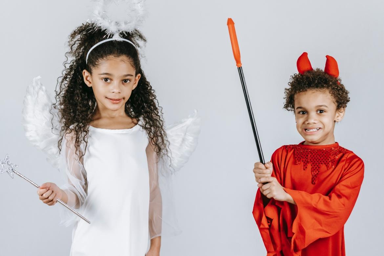 goed, kwaad, engel, duivel, verkleden, kinderen
