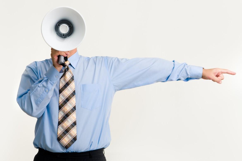 Leider, leiding geven, leiderschap, manager, leidinggevende, megafoon, man