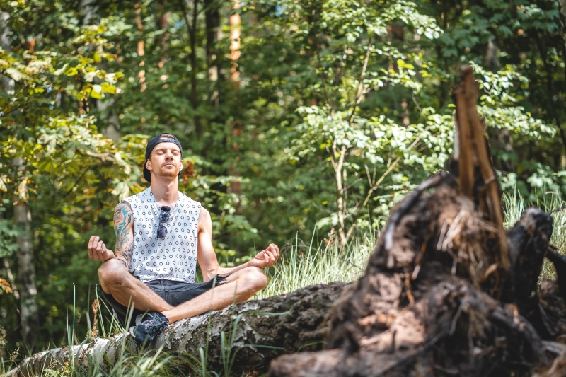 man, meditatie, bos, natuur