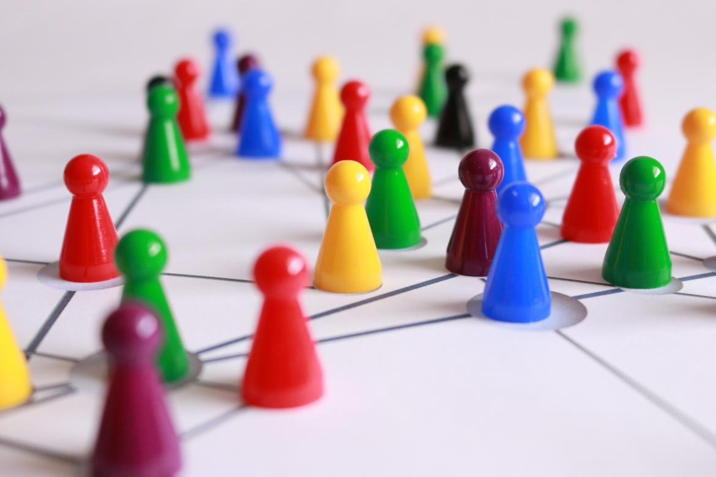 netwerk, mensen, pionnen, interactie