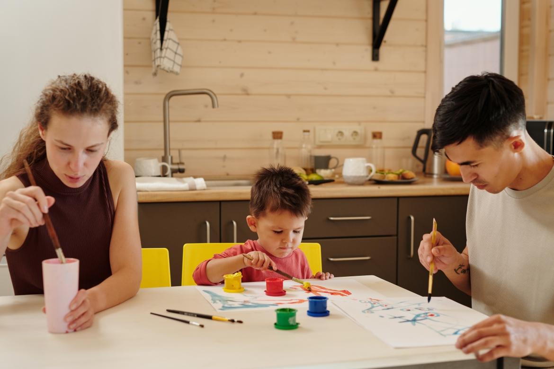 opvoeden, schilderen, papa, mama, kind