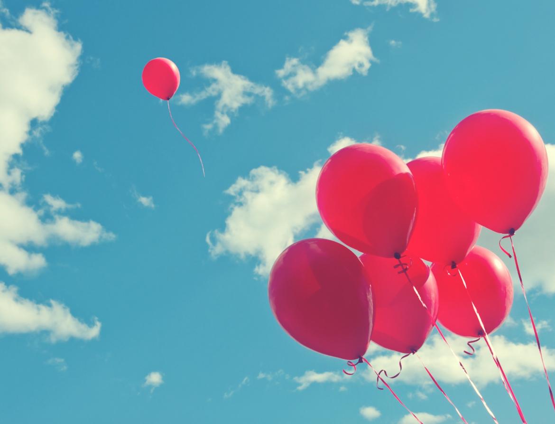 Ballon, ballonnen, roze ballonnen, loslaten, hemel, lucht