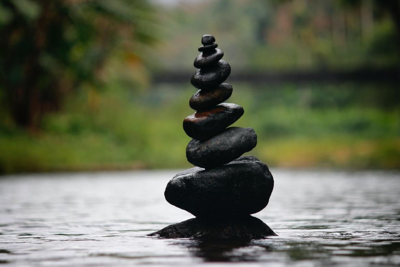 stenen, water, balans