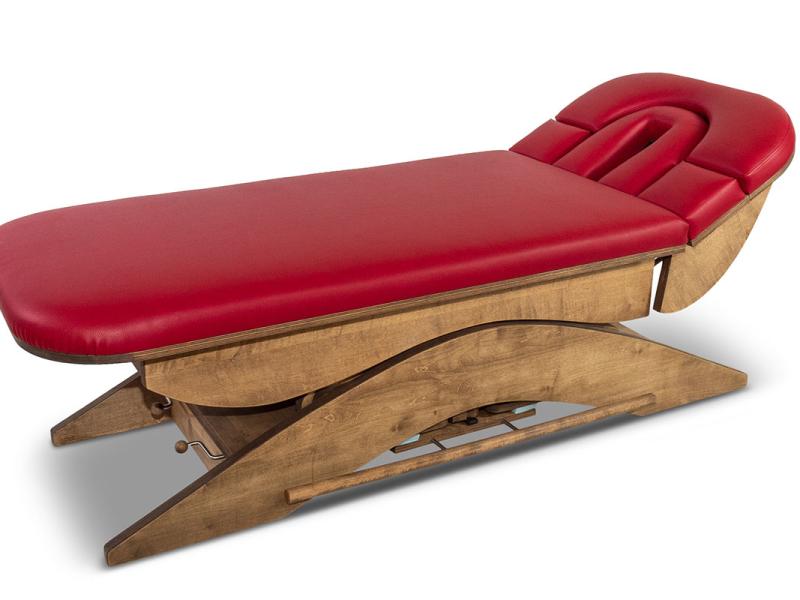 Basic massagetafel rood walnoot hoofdgedeelte hoog