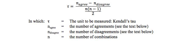 The formula of Kendall's tau