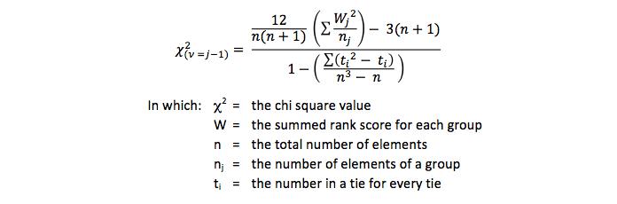 Formula of the Kruskal-Wallis test with ties